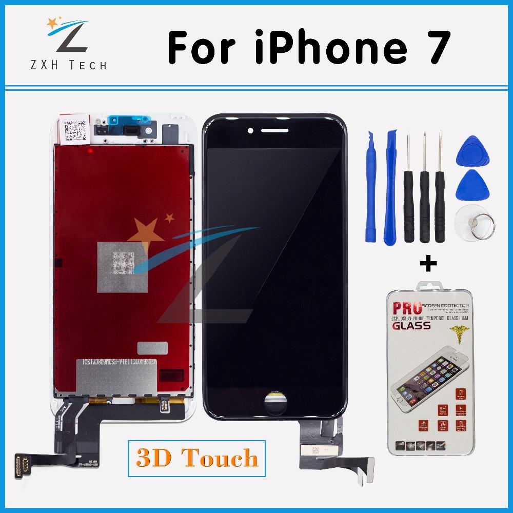 Prix pour 100% Testé A + + + + Remplacement D'affichage Pour iPhone 7 LCD avec Digitizer Assemblée avec 3D Écran Tactile pour 7G Affichage Livraison gratuite