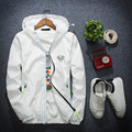 2017 новая коллекция весна и осень куртки молодежи с капюшоном белый ветровка Корейский письмо светоотражающие жилеты 4XL-7XLHigh-quality MK618
