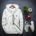 2017 nueva primavera y otoño chaquetas juventud con capucha cazadora blanca Coreana carta chaleco reflectante 4XL-7XLHigh-quality MK618