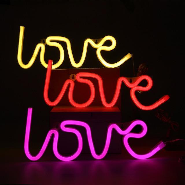 hohappyme LOVE Lighted LED Neon Sign Children Kids Girls Room ...