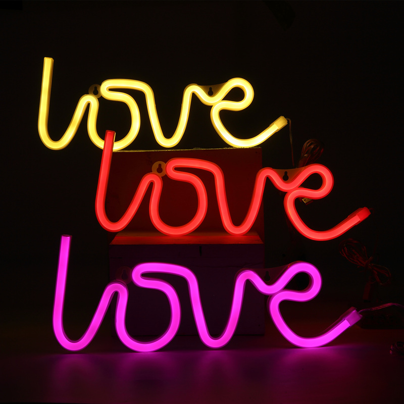 hohappyme LOVE Lighted LED Neon Sign Children Kids Girls Room Bedroom Wall Decor Wedding Accessories Light Home Decor 35x13x2cm