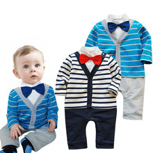 The spring and autumn period and the latest 2016 male baby cotton gentleman bow tie long-sleeved dress cute Rompers