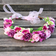 Eksklusif Daisy Buatan Sutra Bunga Karangan Bunga Headband Hairband Bunga Rambut Aksesoris dengan Pita Adjustable Garland Crown(China)