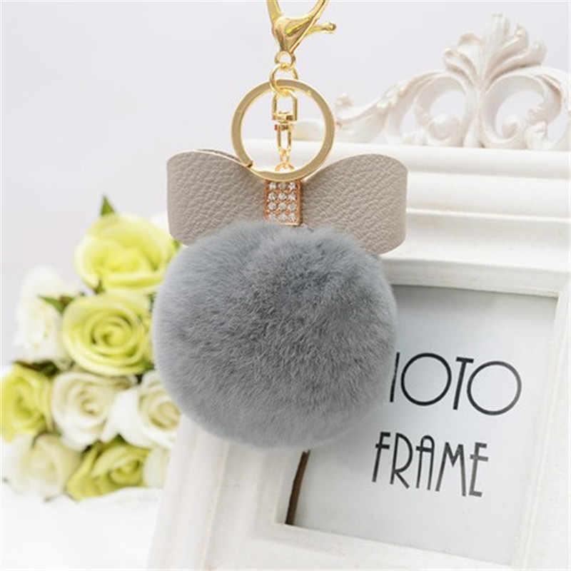 8 cm De Pele Pom Pom Arco Chaveiro chaveiro Mulheres PomPom de Pelúcia Chave anel de Strass Faux Rex Rabbit Fur Bola Chaveiro Loja Do Partido presentes
