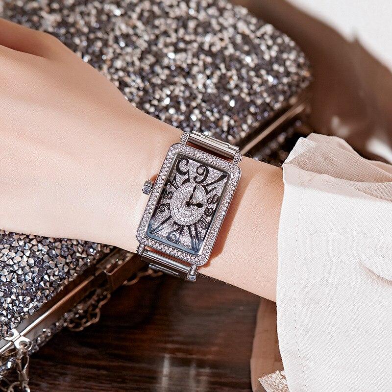 2019 Top Luxe Dames Horloge Vrouwen Mode Rose Goud Quartz Jurk Horloge Nieuwe Strass Vierkante Casual Vrouwen Horloges reloj mujer-in Dameshorloges van Horloges op  Groep 2