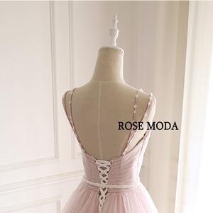 Image 5 - 로즈 Moda 화려한 더스티 로즈 핑크 웨딩 드레스 V 목 레이스 웨딩 드레스와 꽃 진짜 사진