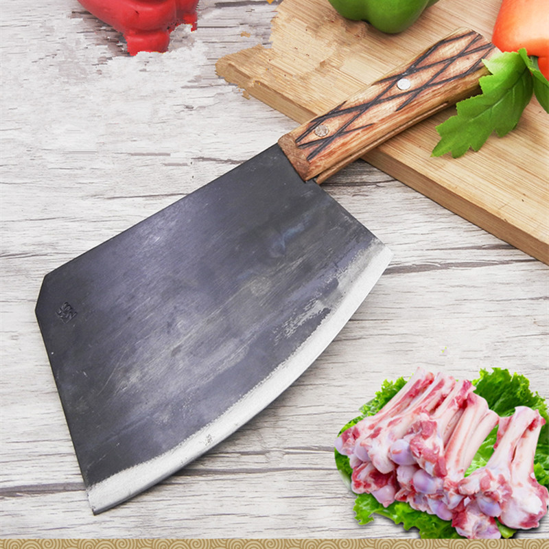CZQ Carbon Steel Forged Professional Chef Chopping Bone Knife Cutting Big Bone Firewood Knives Kitchen Cutting