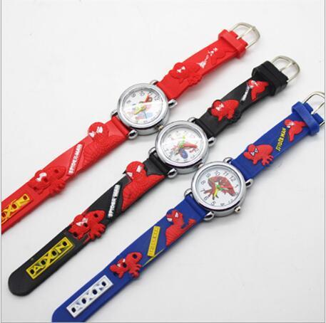 Hot Sale Fashion Spiderman Watches Children Watch Cute Cartoon Watch Kids Cool 3d Rubber Quartz Watch Relogio Clock Hour Gift Children's Watches