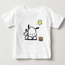 children T - shirt summer T-shirt  pochacco Cartoon A dog on vacation in the sun boy and girl Pure cotton