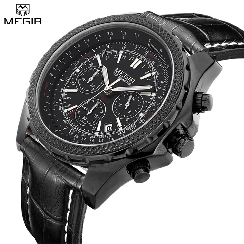 MEGIR Brand Chronograph Men Waterproof Sport Casual Male Watches Leather Strap Quartz Fashion Military Watches Clock