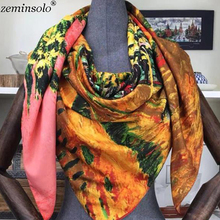 130*130cm Silk Scarf Women Satin Square Print Smooth Scarves Foulard Female High Quality Retro Luxury Brand Shawl