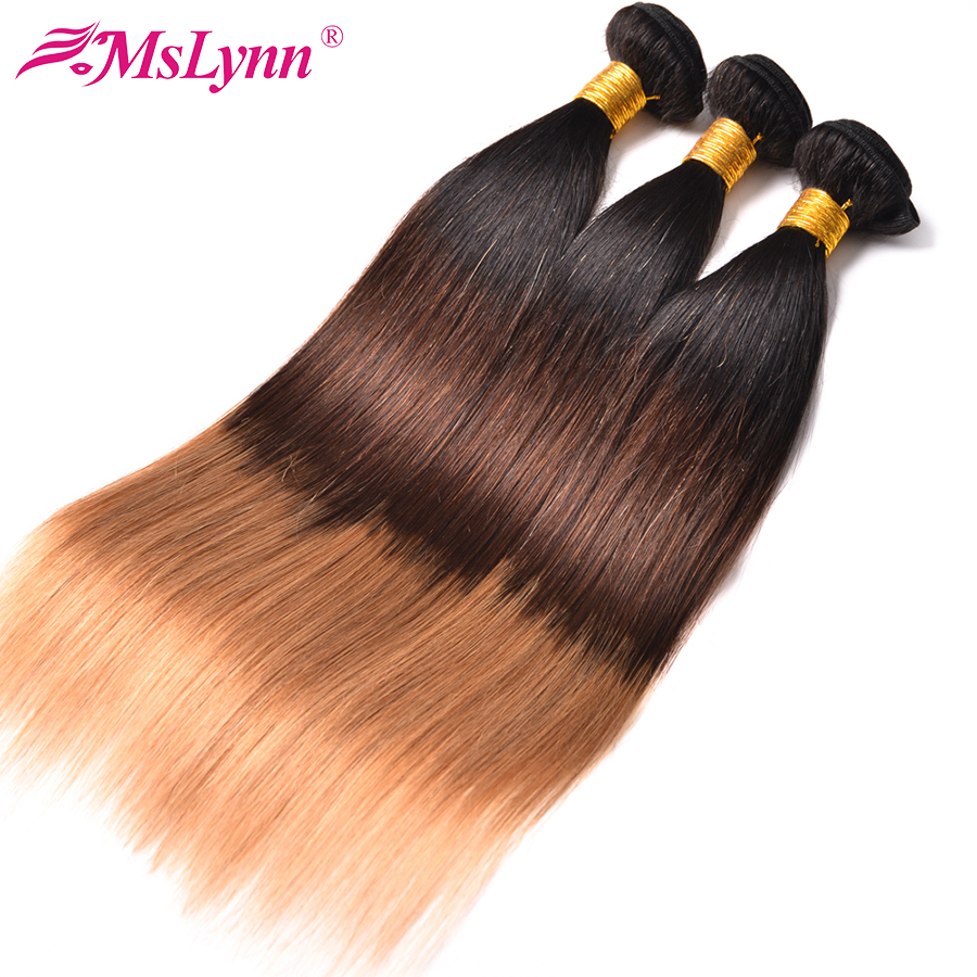 Ombre Hair Bundles Deal Brazilian Hair Weave Bundles Straight Hair 1b/4/27 Human Hair Extensions 3 Tone Mslynn Non Remy 3PCS