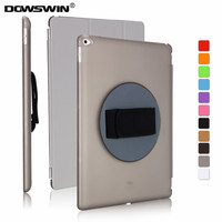 for ipad pro 12.9 case,dowswin 360 degree rotating cover for ipad pro 12.9inch pu smart auto sleep pc back with handheld strap