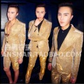 2016 New plus size men clothing DJ singer BIGBANG GD rights Zhi- Long gold color Glitter suit costumes wedding formal dress