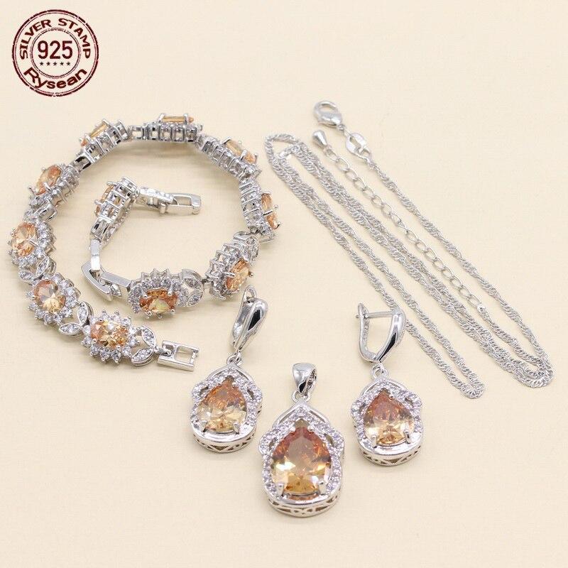 Earrings Necklace Jewelry-Set Bracelet Pendant Birthday-Gift Christmas 925-Silver Adjustable
