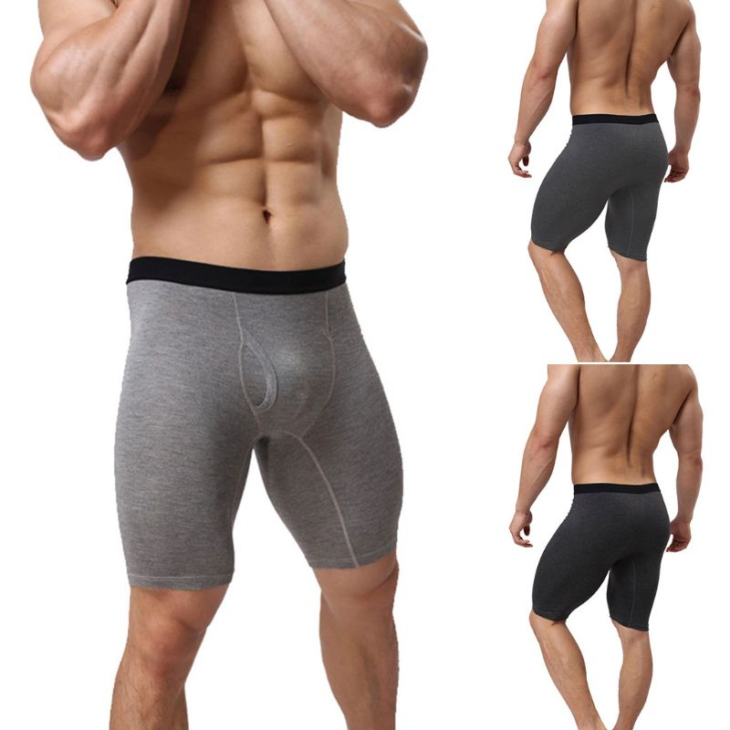 Mens Plus Size Quick Dry Athletic Compression Shorts  Mid-Rise Breathable Cotton Boxer  Fly Front With Pouch