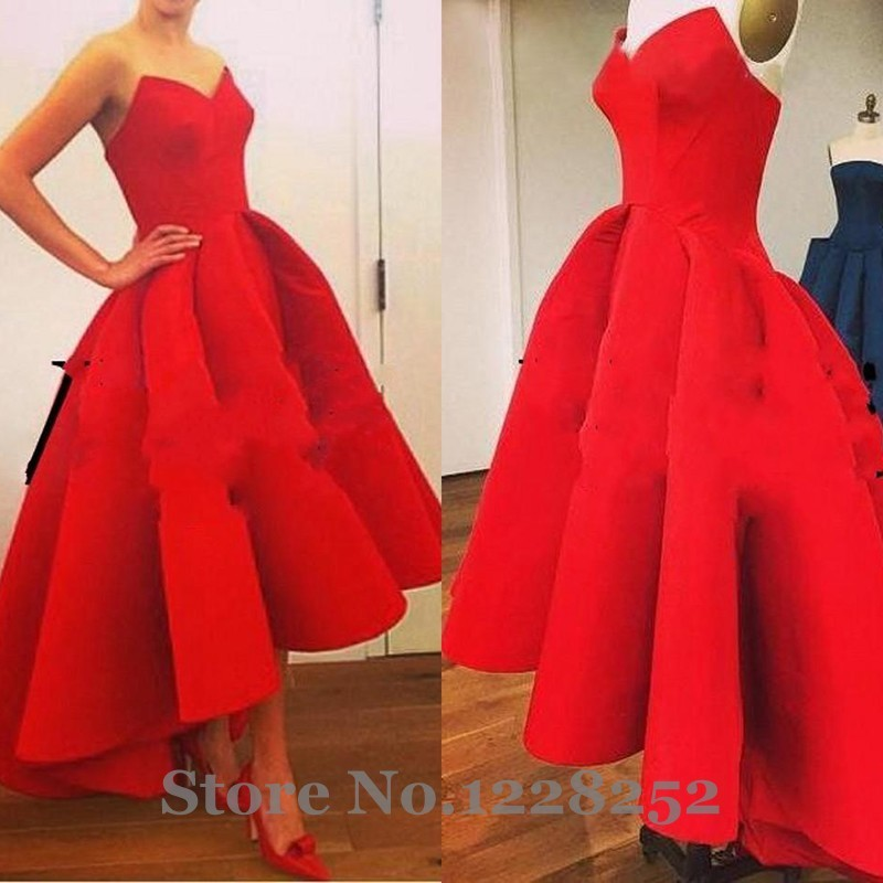 2016-High-Low-Red-Prom-Dresses-Sexy-Strapless-Cheap-Satin-Short-Front-Long-Back-Party-Dress (2)