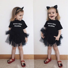 Newborn baby girls summer dress with letters black Cute tulle dress for toddler girl short sleeve pettiskirt Children's tutu valentine black ruffle rainbow hearts girl pettitop black petal pettiskirt nb 8y mapsa0121
