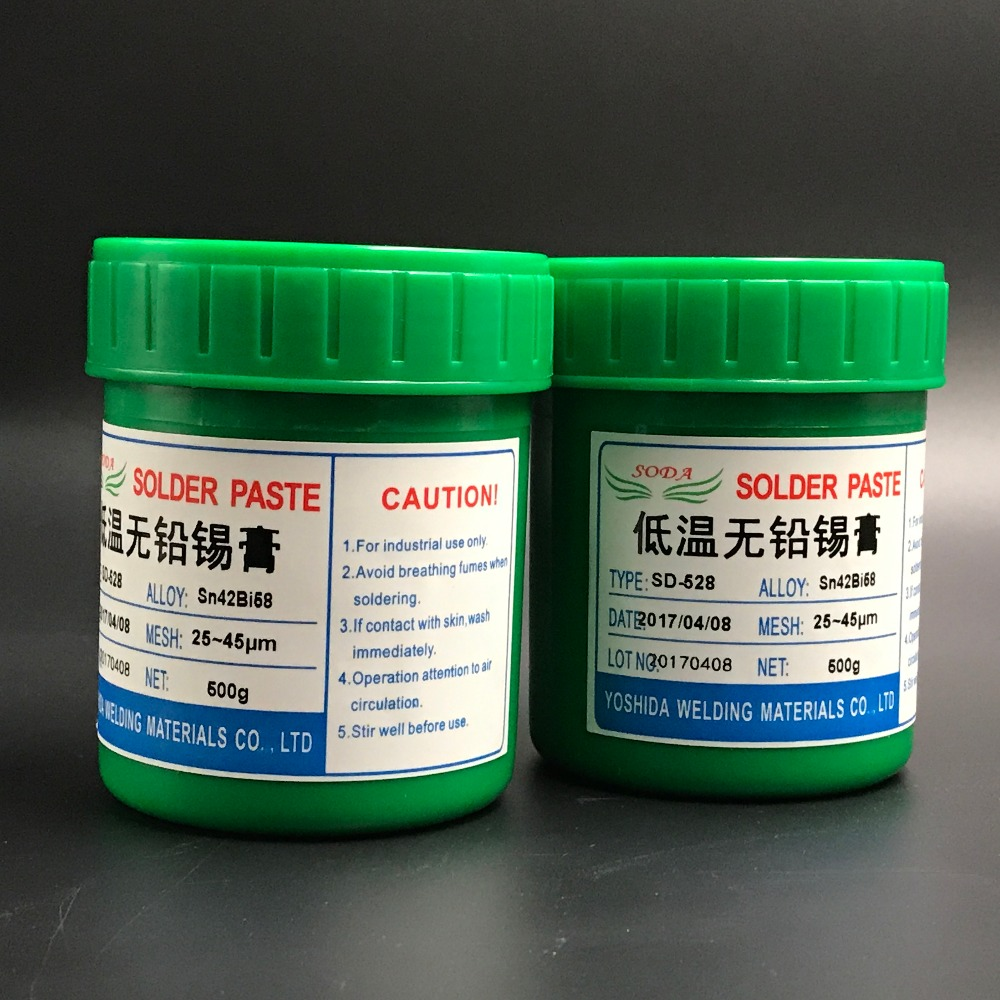 HOT Sale! SD-528 Low Temperature SMT Lead-free SMT Solder Paste 500g Sn42Bi58 High Quality Solder Tin Paste Free Shipping