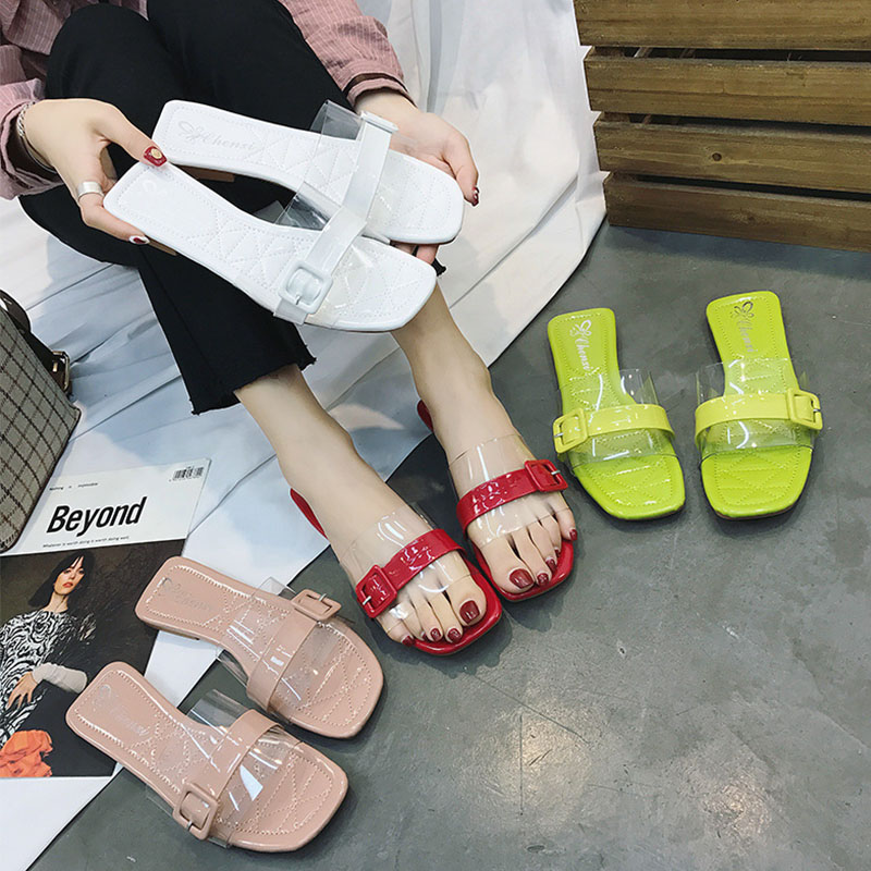 80a743eafb4 Summer women slippers Transparent PVC Shoes Clear Crystal Low Heels Slipper  Open Toe Mule Comfortable Candy color Sandal ME213 -in Slippers from Shoes  on ...