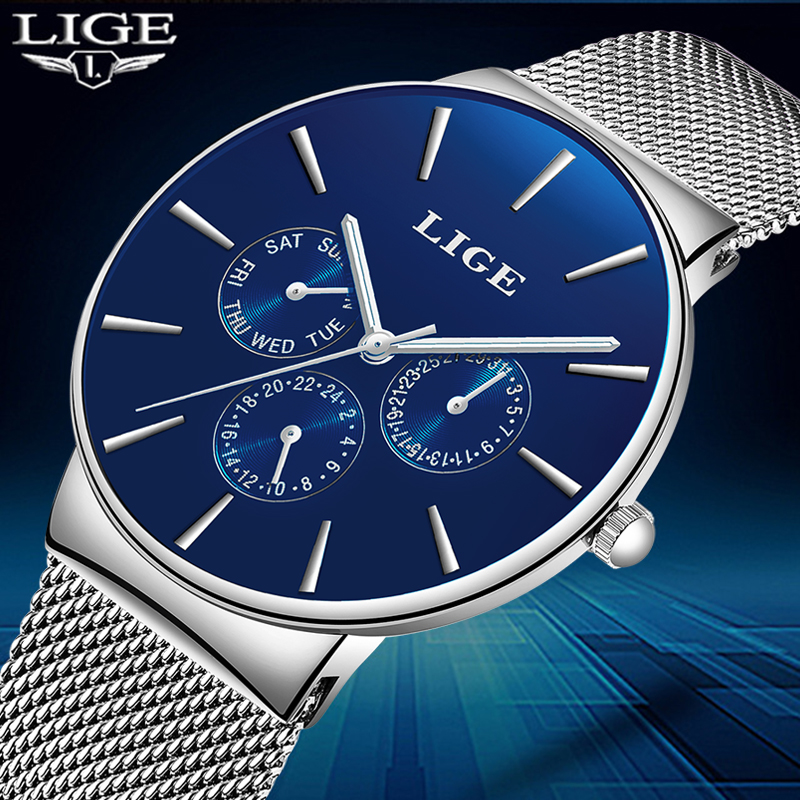 LIGE Mens Watches Top Luxury Brand Full steel Quartz Watch Men Sport Waterproof Watch Fashion Casual Clock Relogio Masculino+Box кроссовки для мальчиков 2cols 17 5 23 5 2015 kis