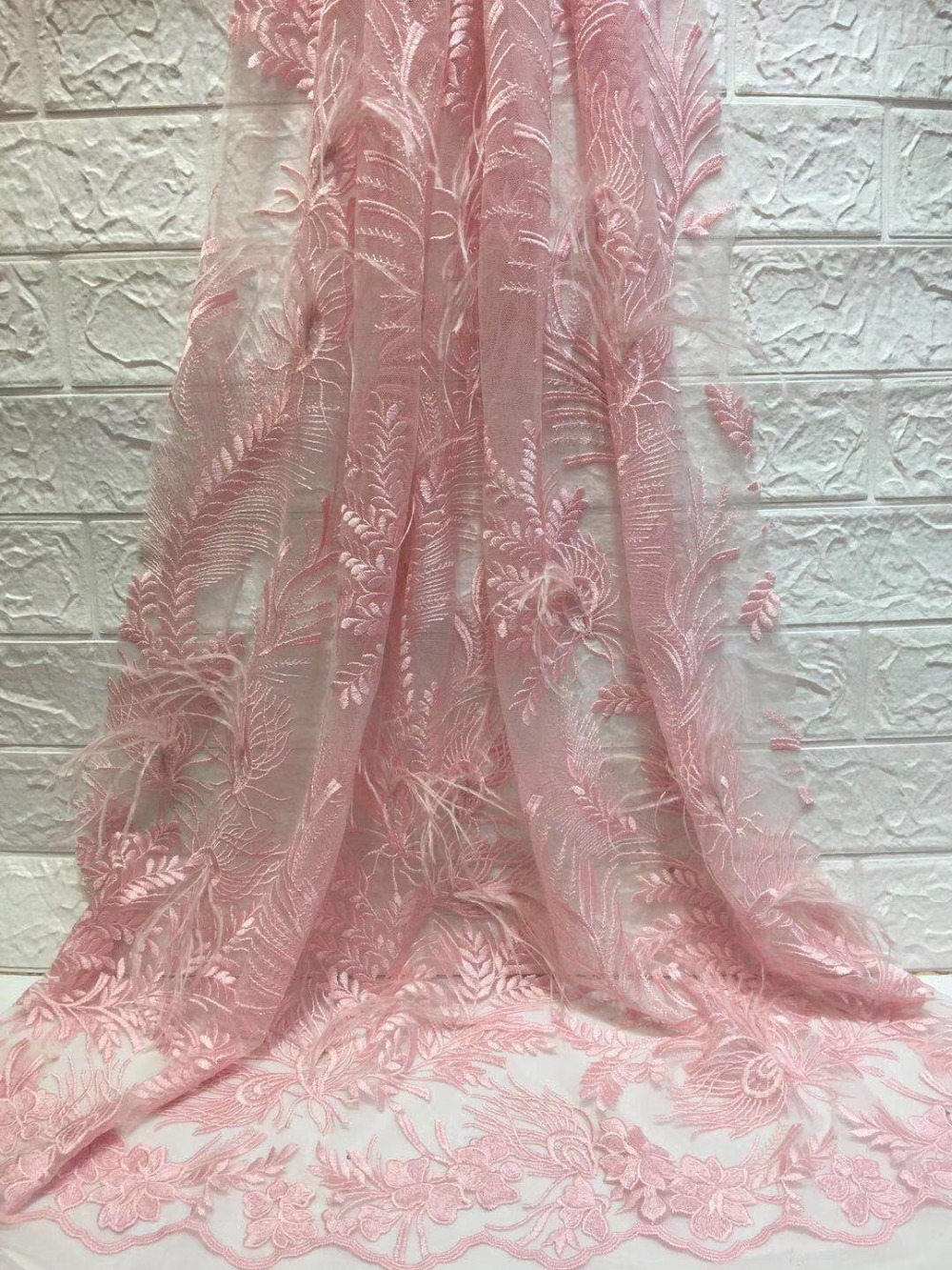 2019 French Lace Fabric Wedding High Class African Tulle Lace Fabric 5 Yard with feather Embroidered Tulle Lace Fabric2019 French Lace Fabric Wedding High Class African Tulle Lace Fabric 5 Yard with feather Embroidered Tulle Lace Fabric