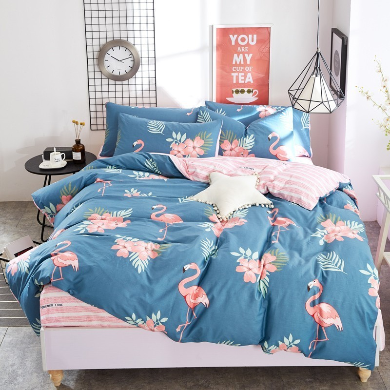 Funda Nordica King Size.Us 45 68 20 Off 4pcs Cotton Pink Flamingo Bedding Duvet Cover Sheets Set Pillowcases Printed Bed Sets Full Queen King Sizes Funda Nordica Cama In