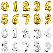 จำนวนบอลลูนฮีเลียม 32 นิ้วเงินทองฟอยล์บอลลูน big happy วันเกิดลูกโป่งตกแต่ง giant Party บอลลูนตัวเลข