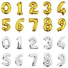 Numarası balonlar Helyum 32 inç Altın Gümüş folyo Balon büyük mutlu Doğum Günü düğün balonları dekorasyon dev Parti balon rakamlar
