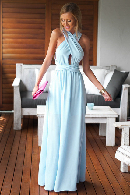 20526750bcce Women Summer Sleeveless Long Club Dresses Evening Light Blue Black Perfect  Date Maxi Dress yx60138 Free Shipping
