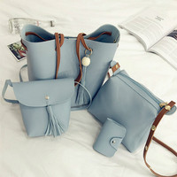 HD Brand New Style 4pcs Set Women PU Leather Shoulder Bag Fashion Tassel Tote Purse Messenger