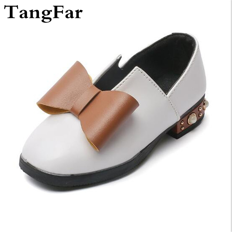 Childrens Princess Butterfly Shoes Autumn New Girls Shallow Mouth British Style Shoes Pearl Mid-heel Sneaker Uniform Shoe