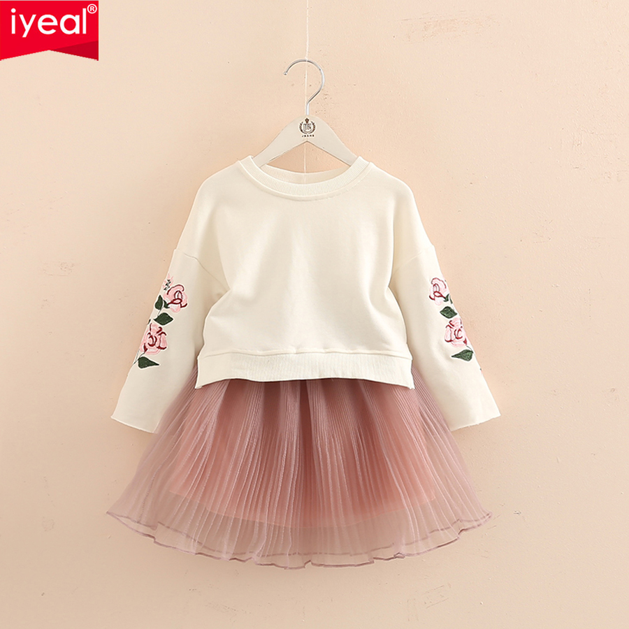 IYEAL Kid Girls Clothes Sets 2018 Fashion 2PCS Children Clothing Cotton Long Sleeve T-shirt Tops With Skirt Dresses Outfit 3-10T 2pcs children outfit clothes kids baby girl off shoulder cotton ruffled sleeve tops striped t shirt blue denim jeans sunsuit set