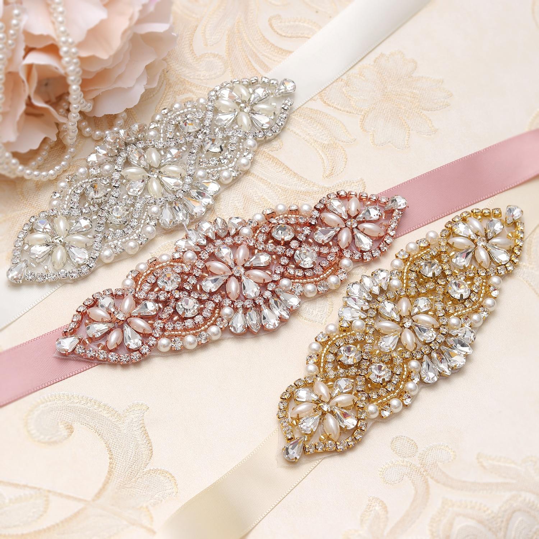 MissRDress Pearls Wedding Belt Crystal Bridal Sash Rose Gold Rhinestones Bridal Dress Belt For Wedding Accessories JK848