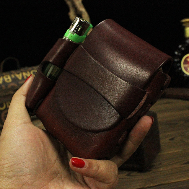 Genuine leather brand lighter case leather fashion black cigarette lighter box men's cigarette gift  high-quality
