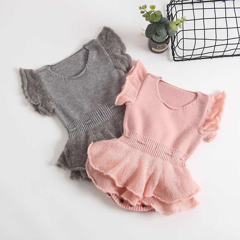 Toddler Baby Rompers Newborn Cotton Knitted Baby Clothes Ruffle Sleeve Baby Girl Romper Infant Baby Jumpsuit For Girls Clothes