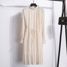 New Spring WomenS Version Stand Chiffon Flower Long Sleeve Pleated Dresses FemaleS Large Size Dresses Women chiffon dress