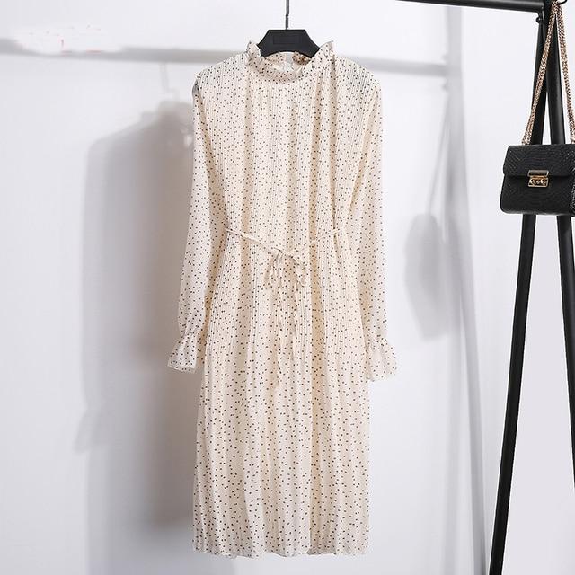 New Spring WomenS Version Stand Chiffon Flower Long Sleeve Pleated Dresses FemaleS Large Size Dresses Women chiffon dress