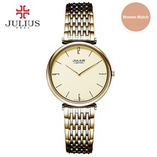 Julius Limited Edition Women Steel Ultra-thin 6.5mm Silver Rose Gold Japan Quartz Movt 30m Waterproof Ladies Dress Watch JAL-032