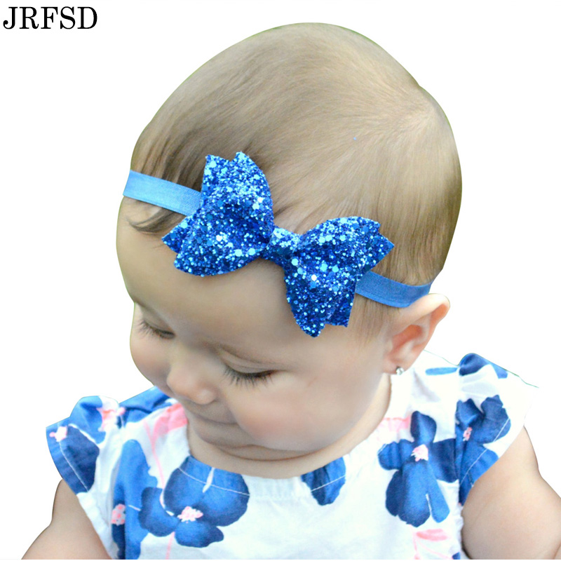 JRFSD 1pcs New Cute Hair Headband Flower Bow Headband Elasticity Hair Band  Flash Gold Kids Hair Accessories HDJ-02 metting joura vintage bohemian ethnic tribal flower print stone handmade elastic headband hair band design hair accessories
