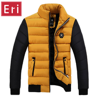 Winter Jacket Men Coats 2016 New Slim Fit Stand Collar Cotton Padded Brand Fashion Parkas Coats