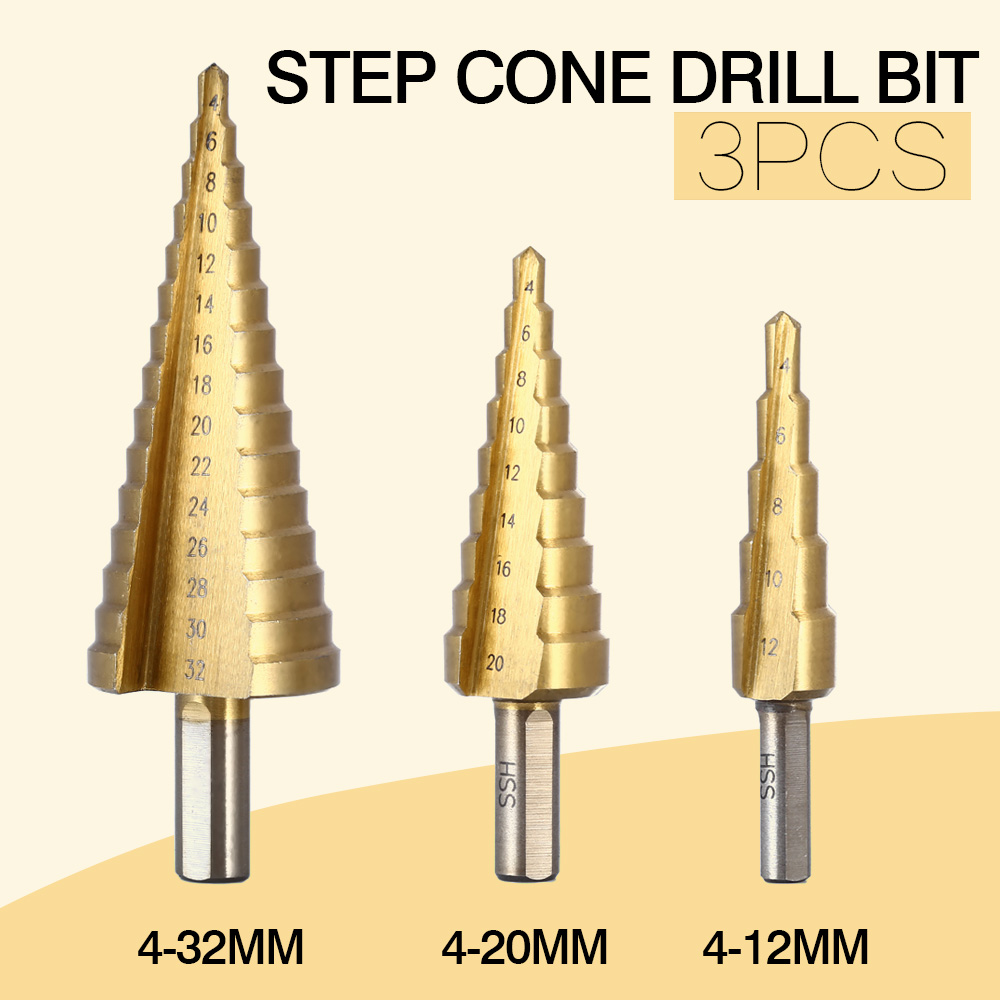 3 Teile/los Professionelle HSS Stahl Großer Schritt Cone Sechskantschaft Beschichtete Metall Bohrer Cut-Tool Set Lochschneider 4-12/20/32mm Großhandel