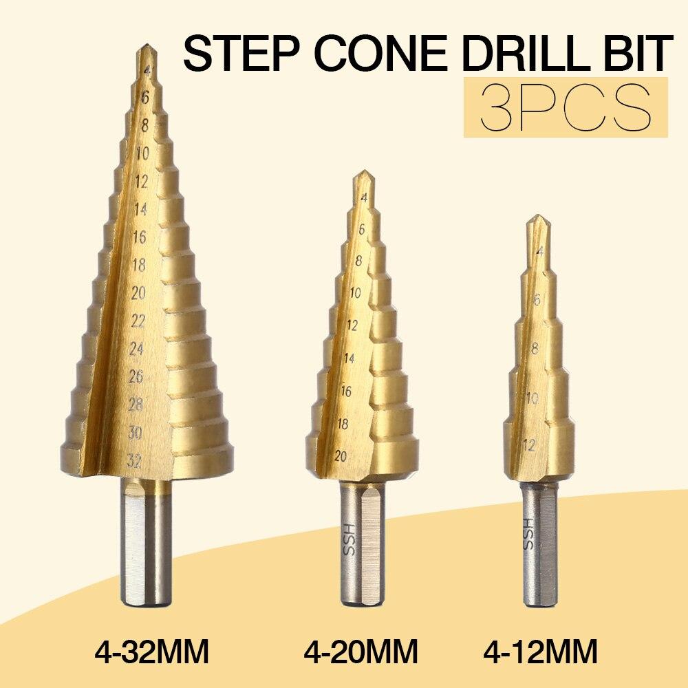 3 unids/lote profesional HSS acero cono grande vástago hexagonal recubierto de Metal brocas herramienta de corte cortador de Agujeros 4-12/20/32mm al por mayor