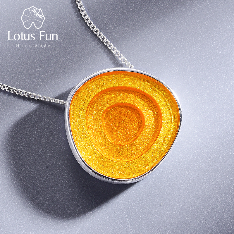 Lotus Fun Real 925 Sterling Silver Minimalism Style Fine Jewelry Geometric Near Round Design  Epoxy Pendant Without Necklace