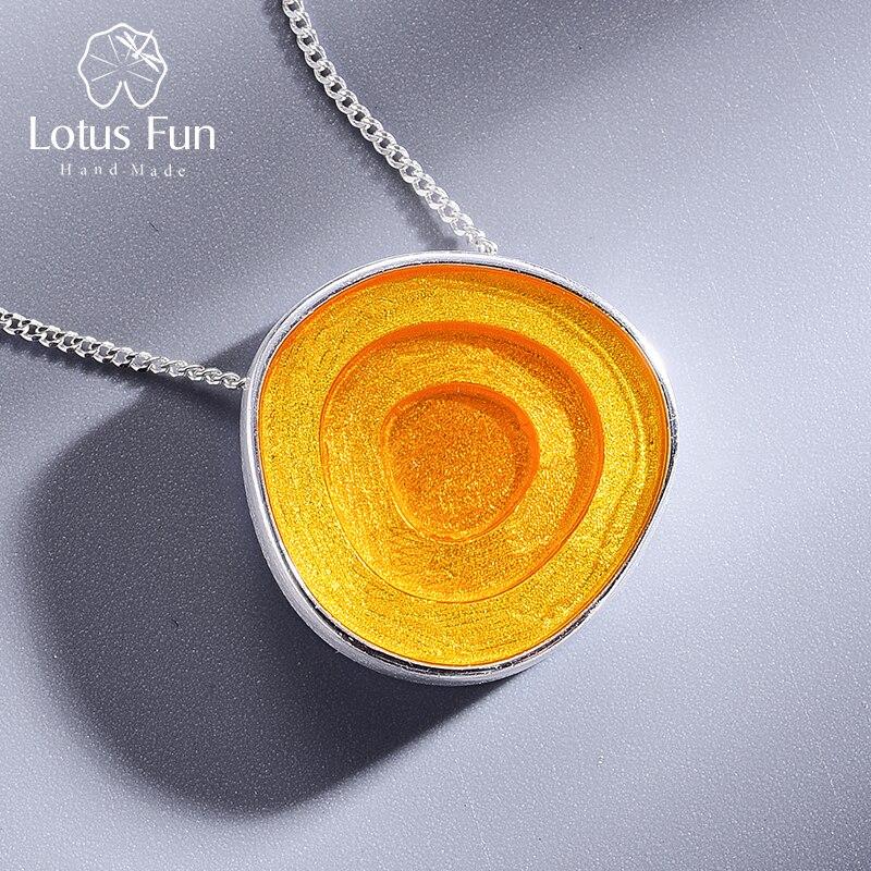 Lotus Plaisir Réel 925 Sterling Argent Minimalisme Style Fine Jewelry Géométrique Près Ronde Conception Époxy Pendentif sans Collier