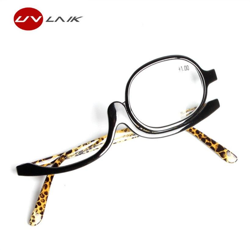 UVLAIK Rotating Magnify Eye font b Makeup b font Glasses Reading Glasses Flipup Glasses Women Cosmetic