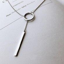 Новая круглая полоса длинная цепочка Многослойные подвески ожерелья для женщин тренд цепочка ожерелья для свитера 925 пробы серебряные ювелирные изделия SAN56