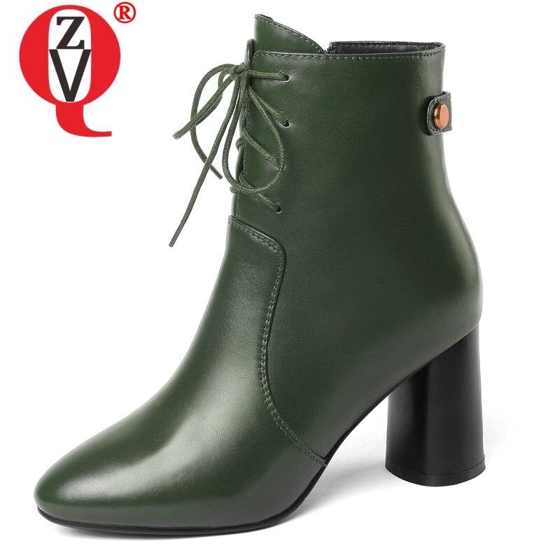 Zvq 정품 가죽 숙녀 라운드 발가락 최신 패션 높은 이상한 스타일의 여성 발목 부츠 크로스 묶인 지퍼 검정과 녹색 신발-에서앵클 부츠부터 신발 의  그룹 1