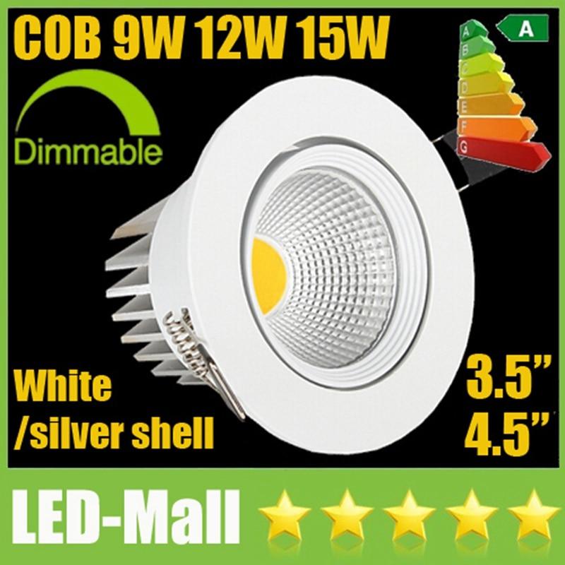 Розничная CREE 9 Вт 12 Вт 15 Вт белый удара светодиодный светильники + Питание CRI> 88 Поворотный Светильник Встраиваемые потолочный свет лампы SAA UL