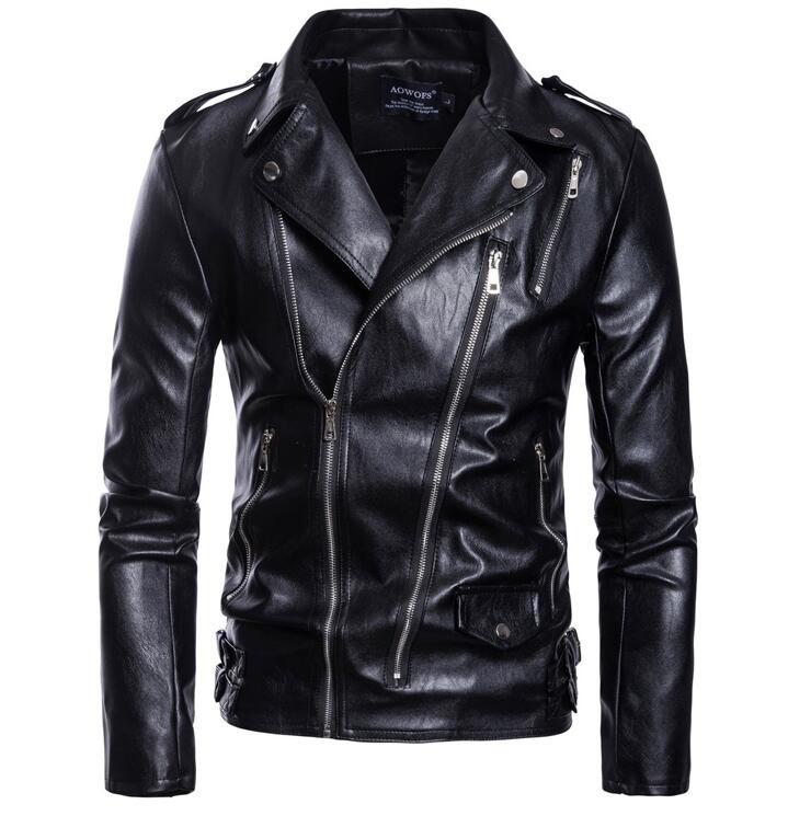 Veste en cuir de moto hommes multiples épaulettes à glissière boucle de ceinture costume col vêtements hommes vestes et manteaux en cuir biker